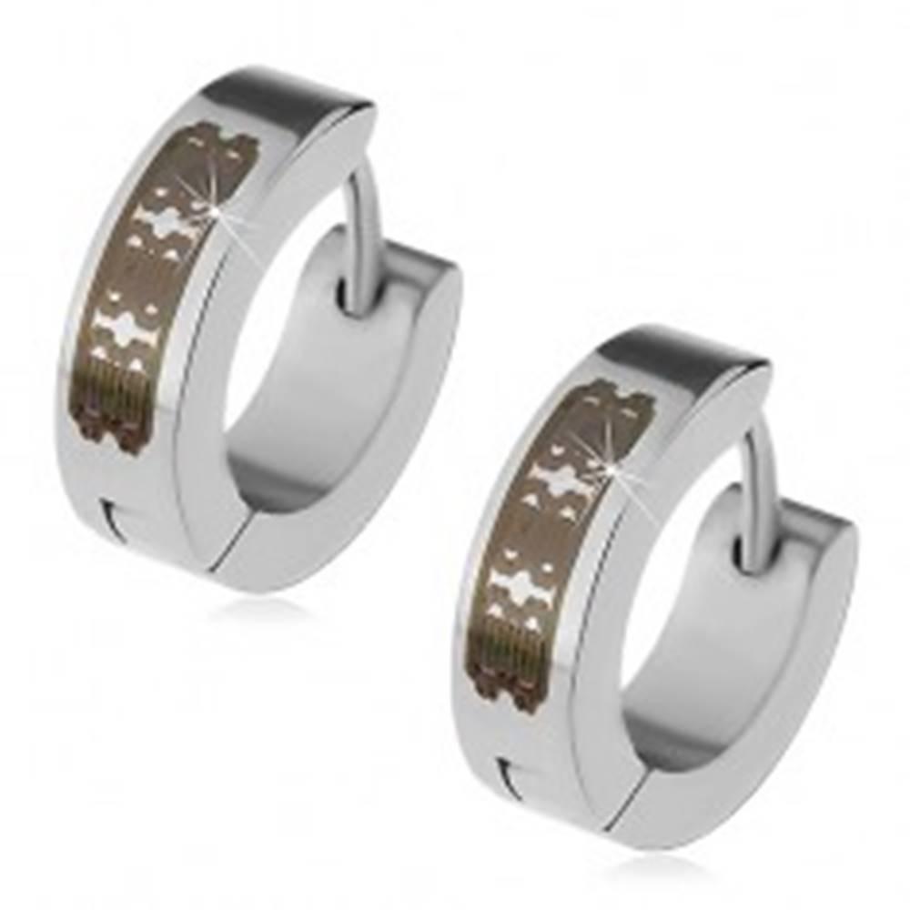 Šperky eshop Oceľové náušnice striebornej farby - obruče s gravírovaným vzorom, kĺbové
