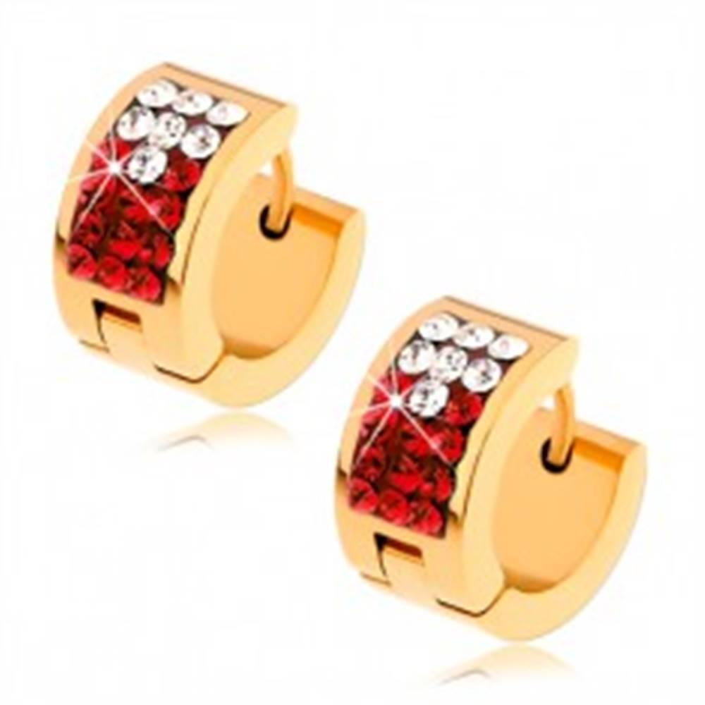 Šperky eshop Oceľové náušnice - zlatá farba, červený pás s čírymi a červenými zirkónmi
