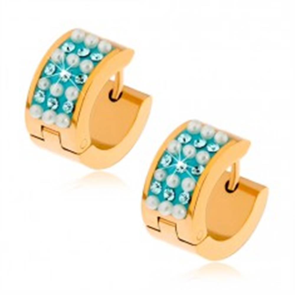 Šperky eshop Oceľové náušnice zlatej farby, biele guličky a tyrkysové zirkóny