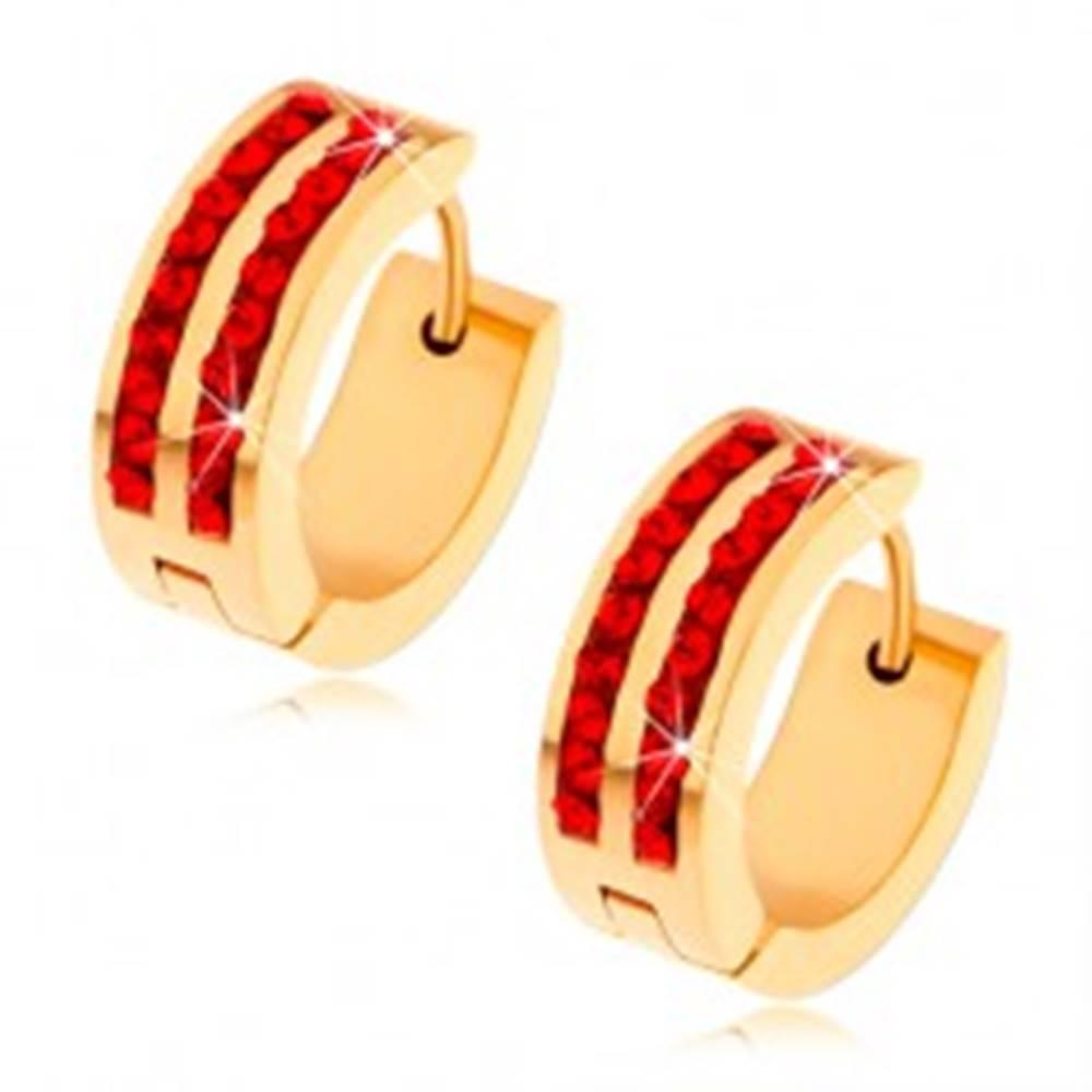 Šperky eshop Oceľové náušnice zlatej farby, dve zvislé línie rubínovo červených zirkónov