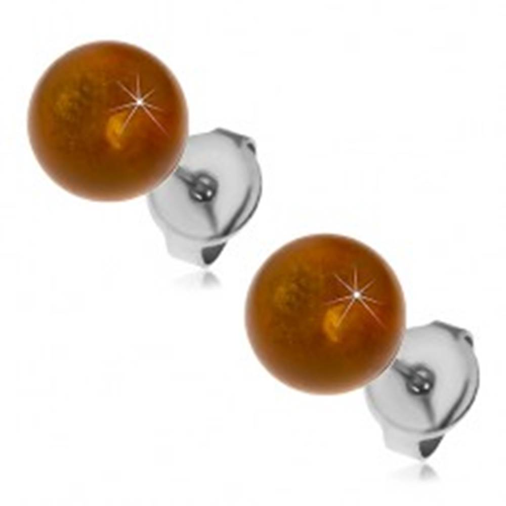 Šperky eshop Oceľové puzetové náušnice, žltohnedé guličky, 8 mm