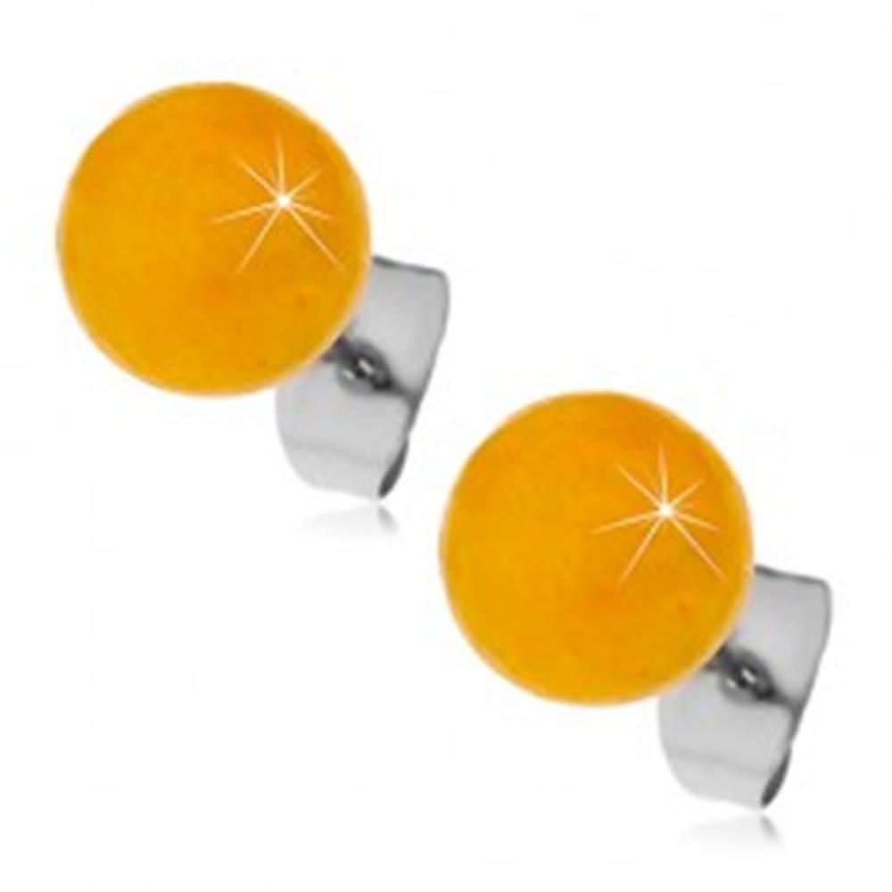 Šperky eshop Oceľové puzetové náušnice, žltooranžové guličky, 8 mm