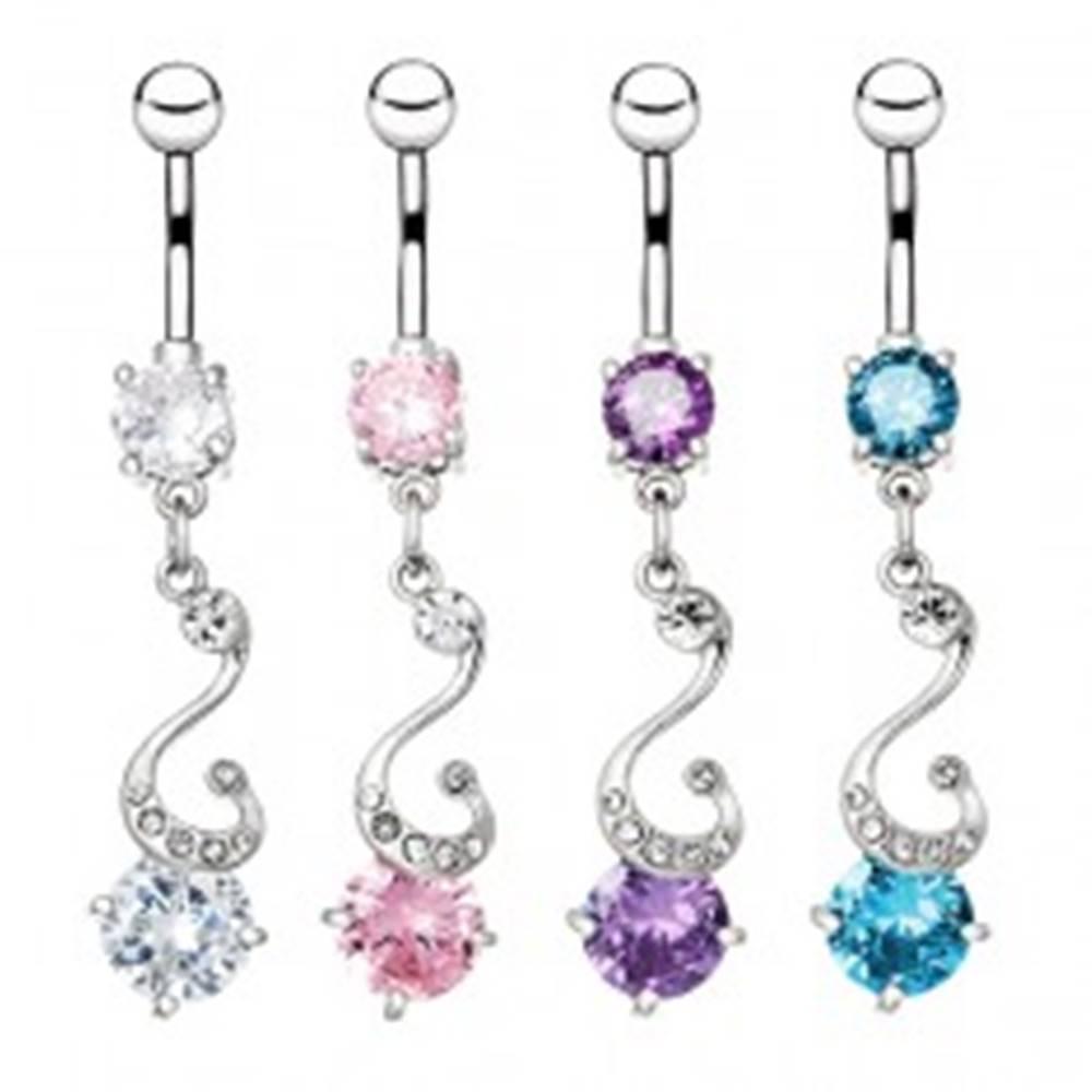 Šperky eshop Oceľový piercing do bruška - esovitý prívesok, zirkóny - Farba zirkónu: Číra - C