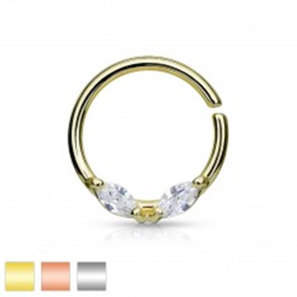 Šperky eshop Oceľový piercing do nosa, krúžok, dva číre zrnkové zirkóny, rôzne farby - Farba: Medená