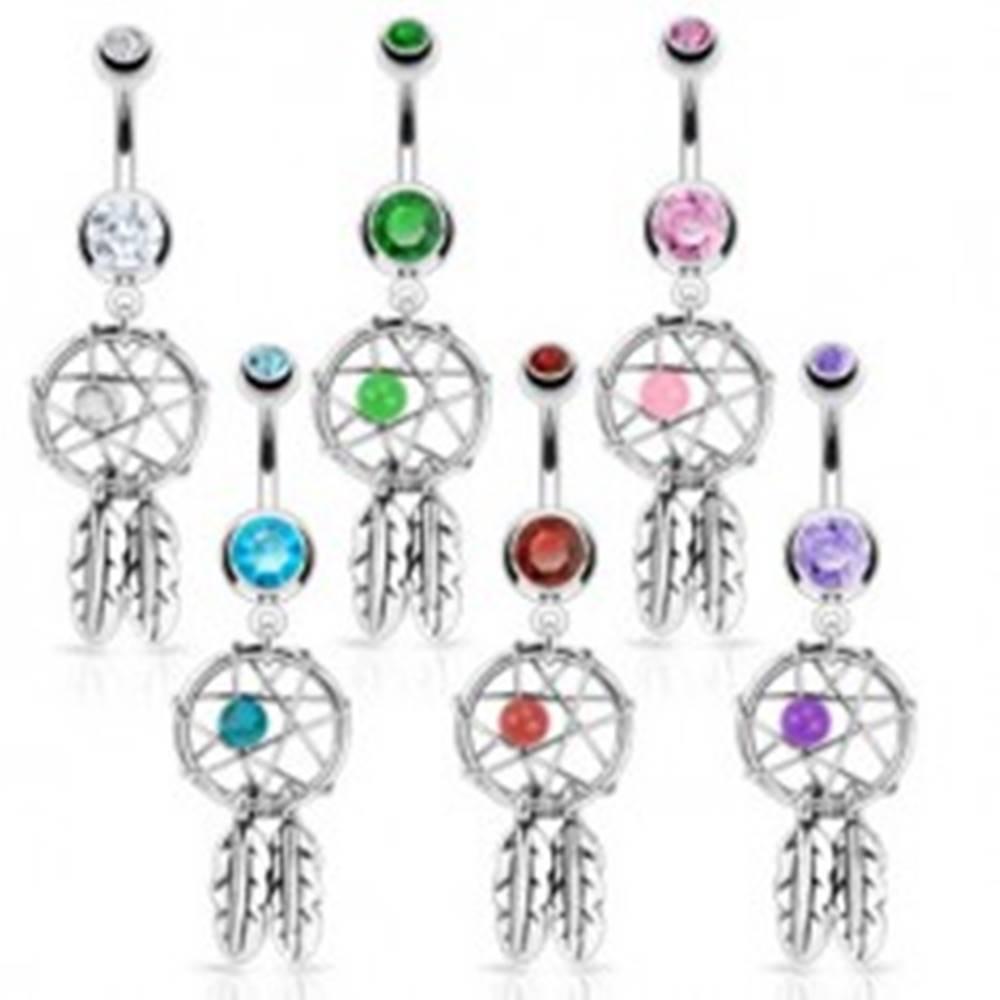 Šperky eshop Oceľový piercing do pupka - lapač snov, dve pierka, zirkóny, korálka - Farba zirkónu: Aqua modrá - Q