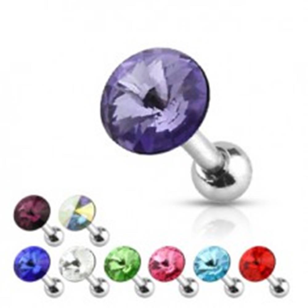Šperky eshop Oceľový piercing do ucha - okrúhly lúčovito brúsený zirkón - Farba zirkónu: Aqua modrá - Q
