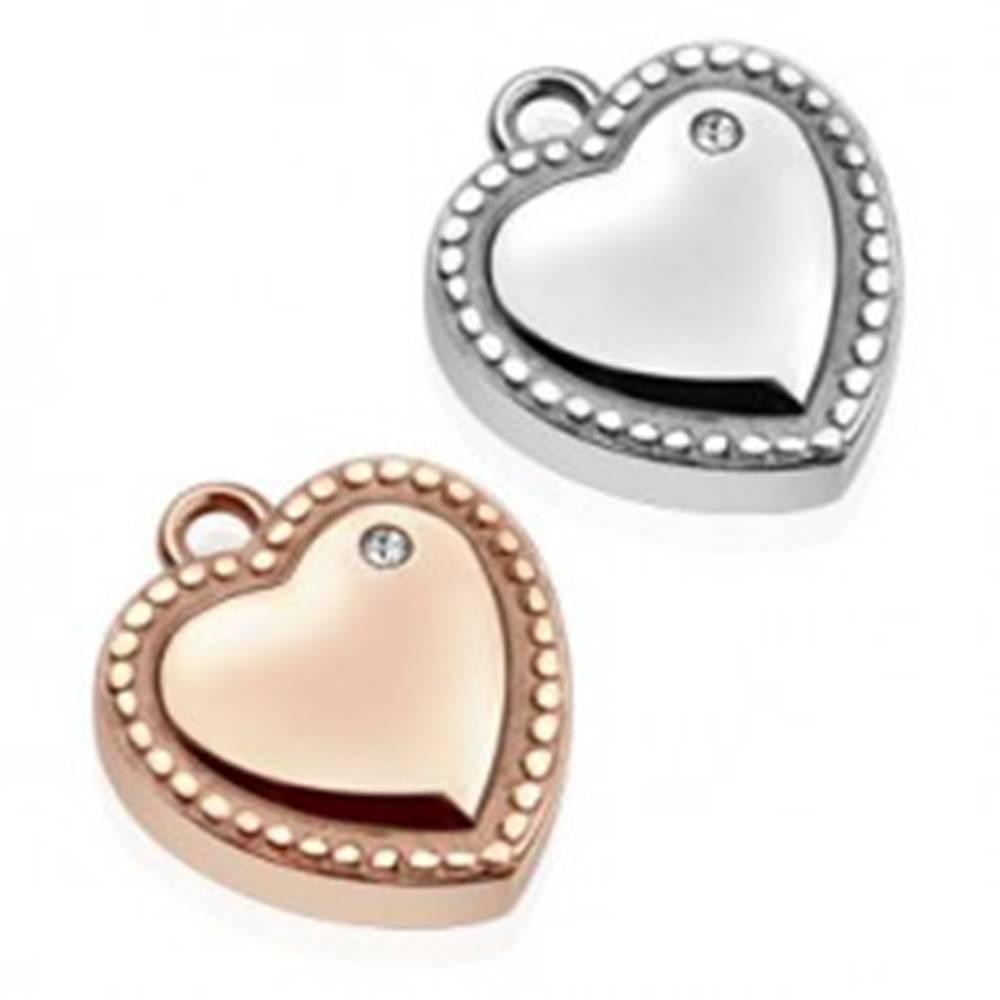 Šperky eshop Oceľový prívesok - srdce, ozdobne gravírované guličky, číry zirkón - Farba: Medená