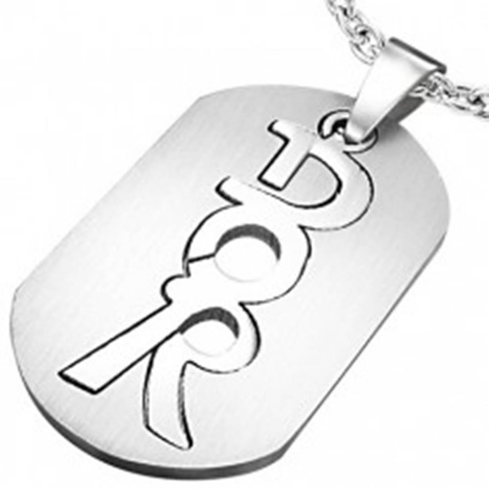Šperky eshop Oceľový prívesok - známka, DOR