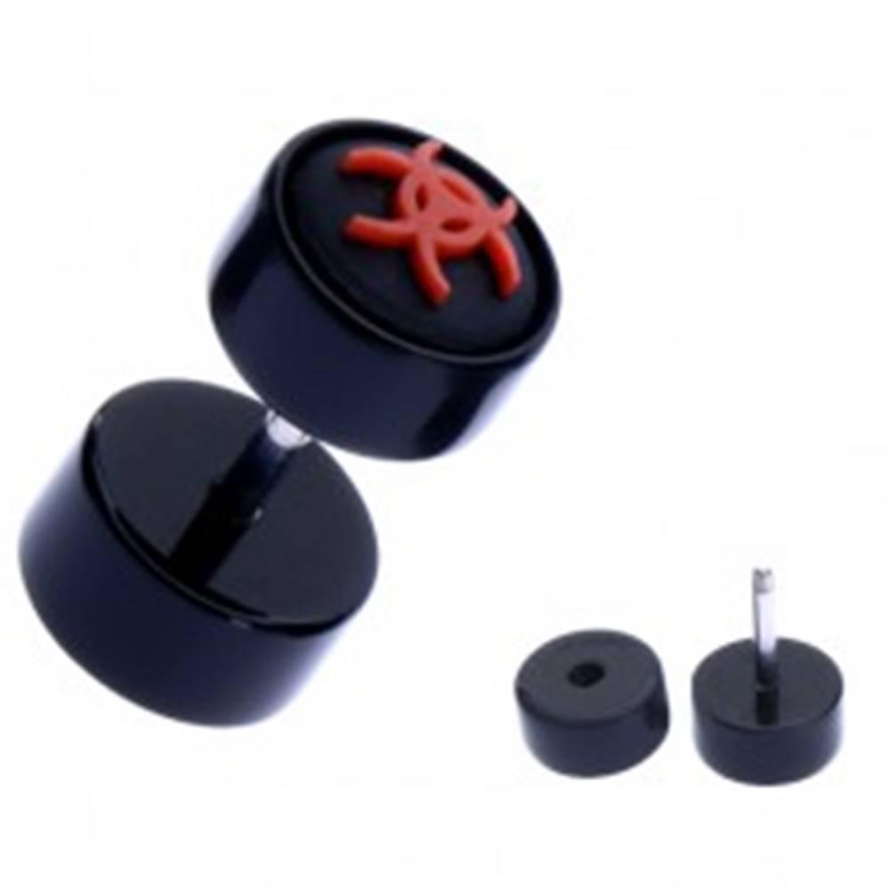 Šperky eshop Okrúhly fake piercing do ucha z akrylu - symbol biohazardu