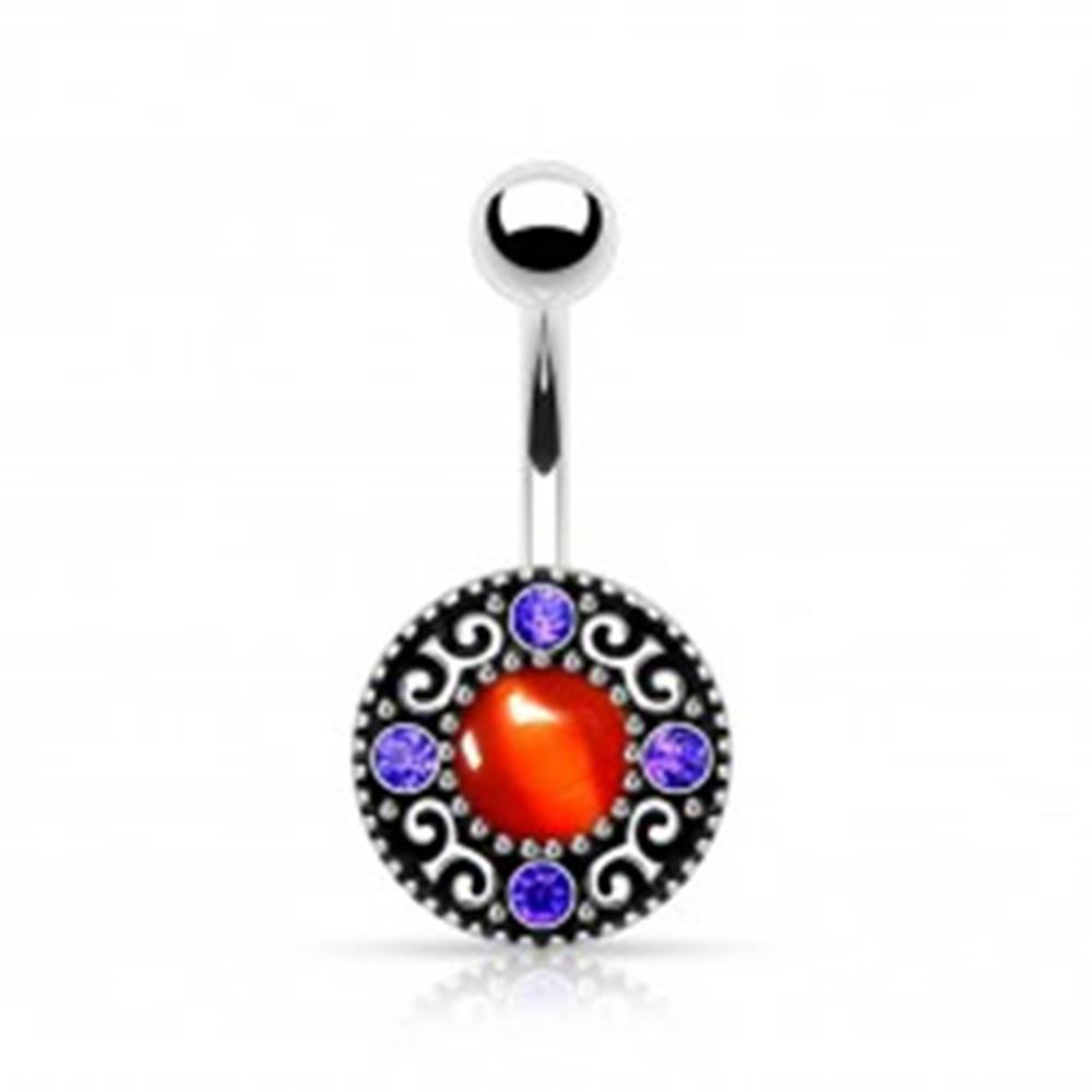 Šperky eshop Piercing do bruška, chirurgická oceľ, patinovaný kruh s červeným stredom, zirkóny
