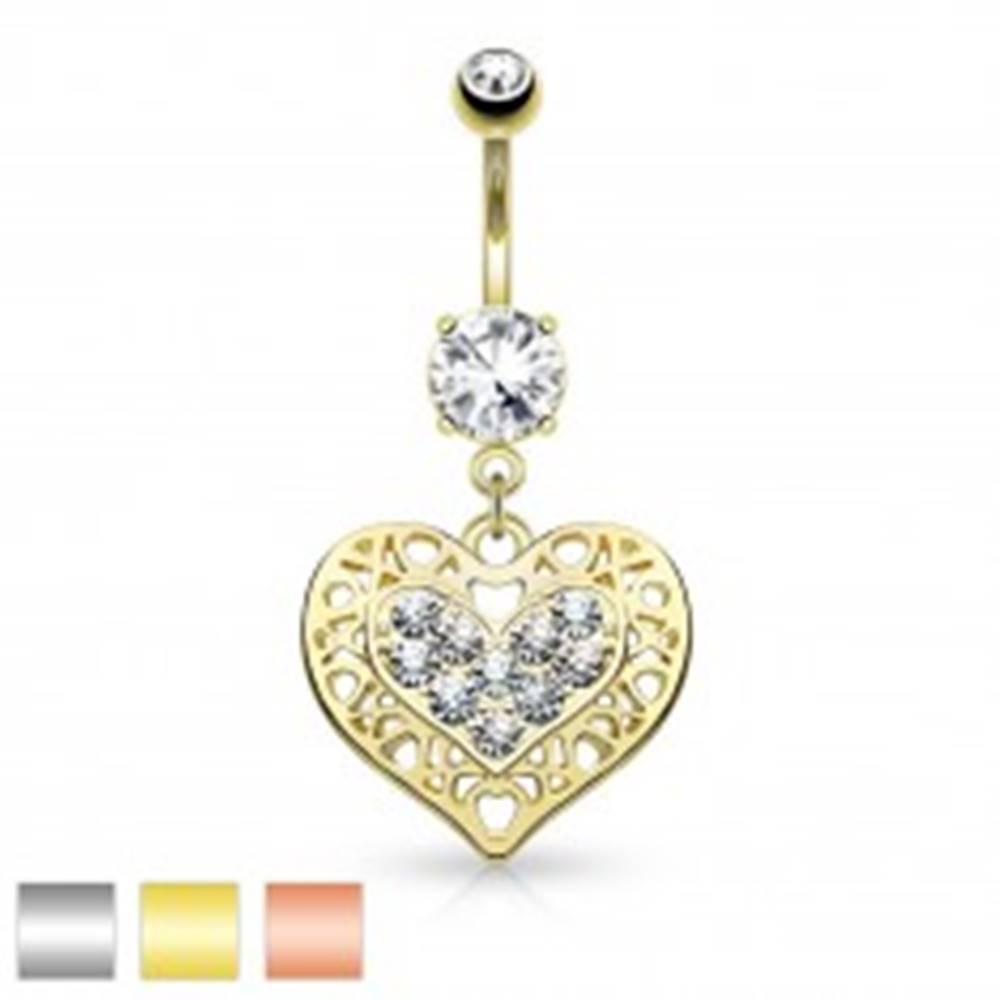 Šperky eshop Piercing do bruška z chirurgickej ocele, srdce s čírymi zirkónmi a výrezmi - Farba piercing: Medená