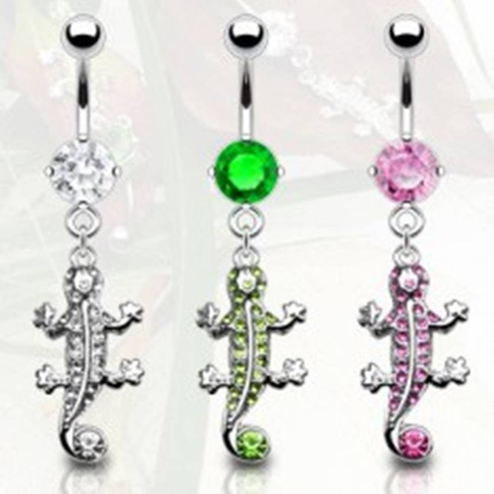 Šperky eshop Piercing do pupku jašterička so zirkónmi - Farba zirkónu: Číra - C