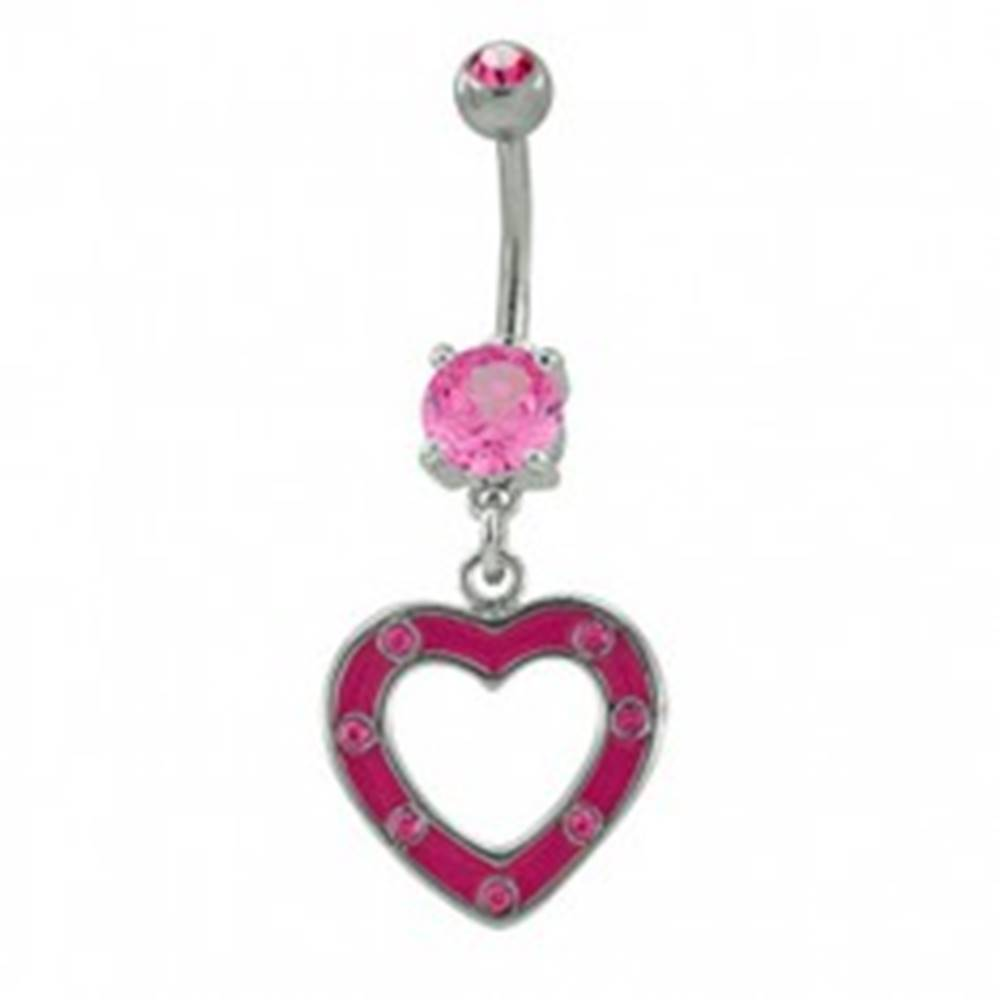 Šperky eshop Piercing do pupku ružové srdiečko so zirkónmi