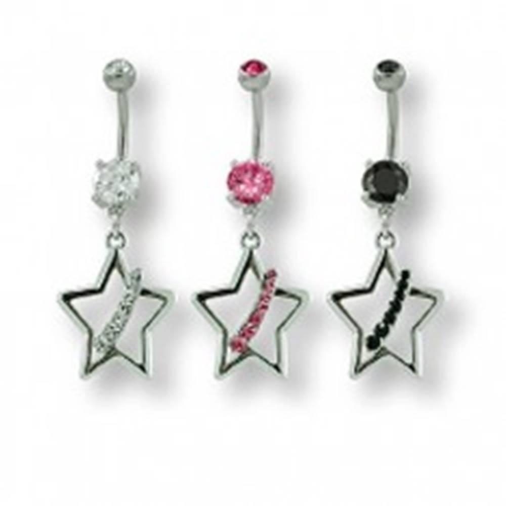 Šperky eshop Piercing do pupku so zirkónmi hviezda - Farba zirkónu: Čierna - K