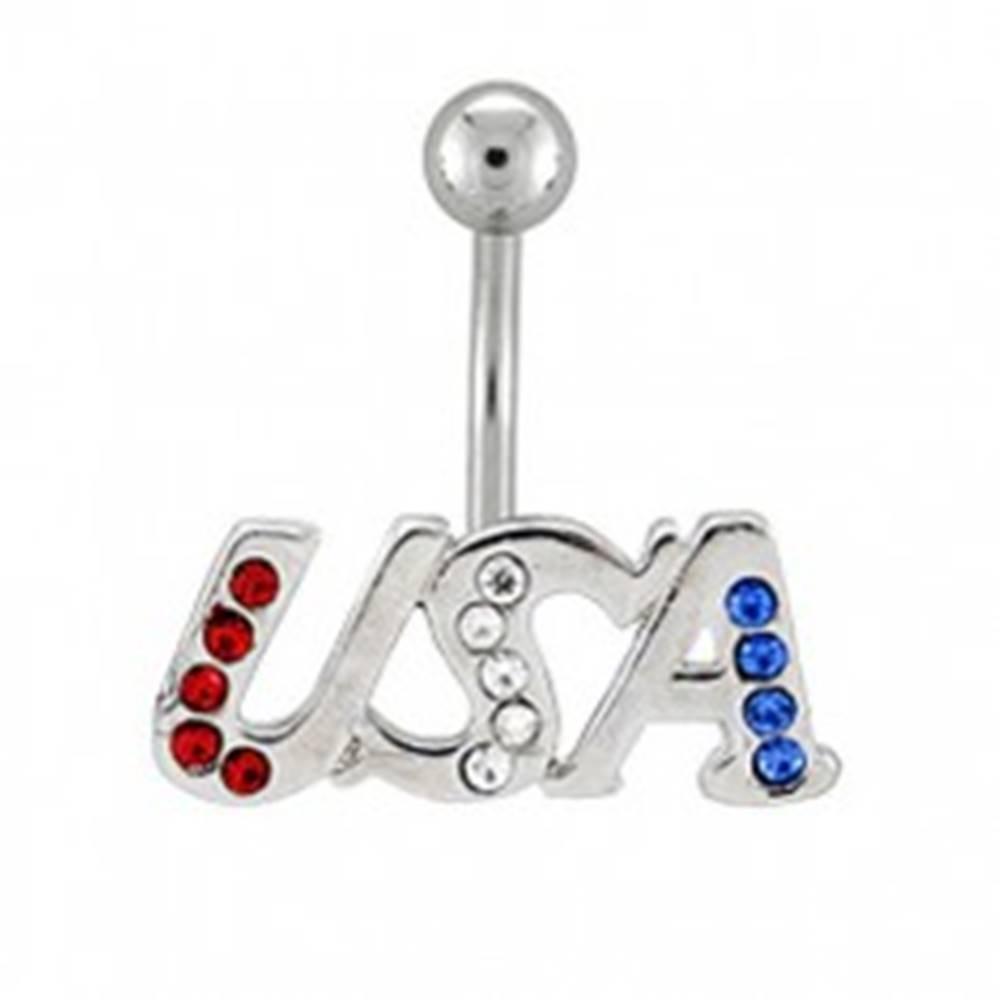 Šperky eshop Piercing do pupku - USA vykladaný zirkónikmi