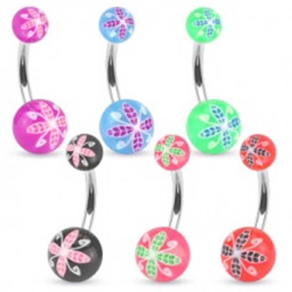 Šperky eshop Piercing do pupku z ocele, farebné guličky z akrylu, kvetinový motív - Farba piercing: Červená