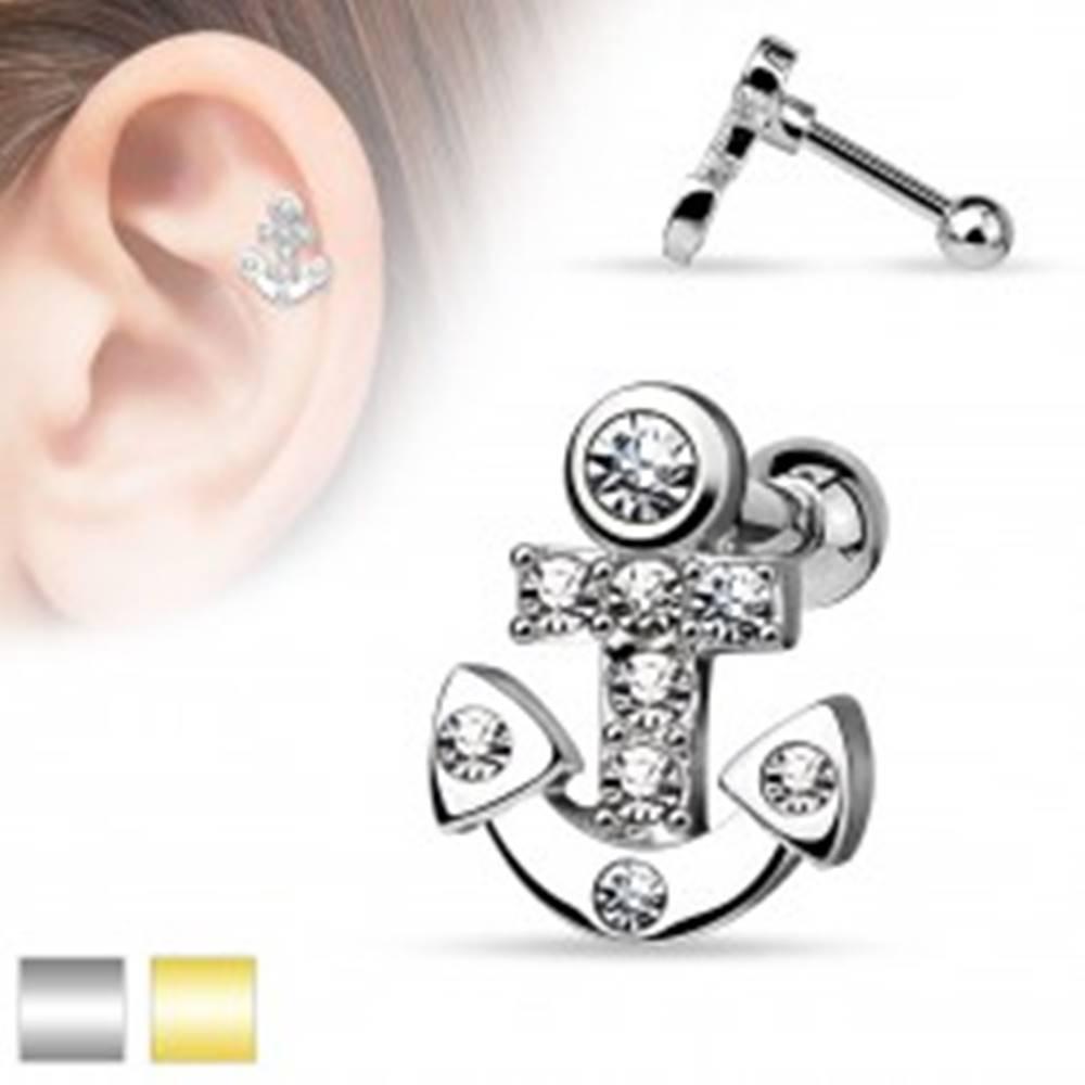 Šperky eshop Piercing do tragusu z chirurgickej ocele, kotva s čírymi zirkónmi - Farba piercing: Strieborná
