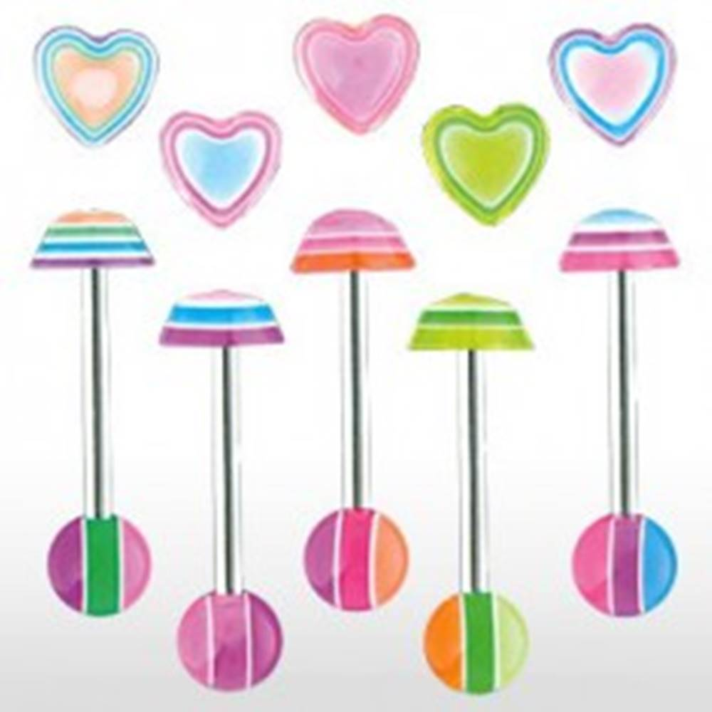 Šperky eshop Piercing jazyka - Multicolor heart - Farba piercing: Fialová
