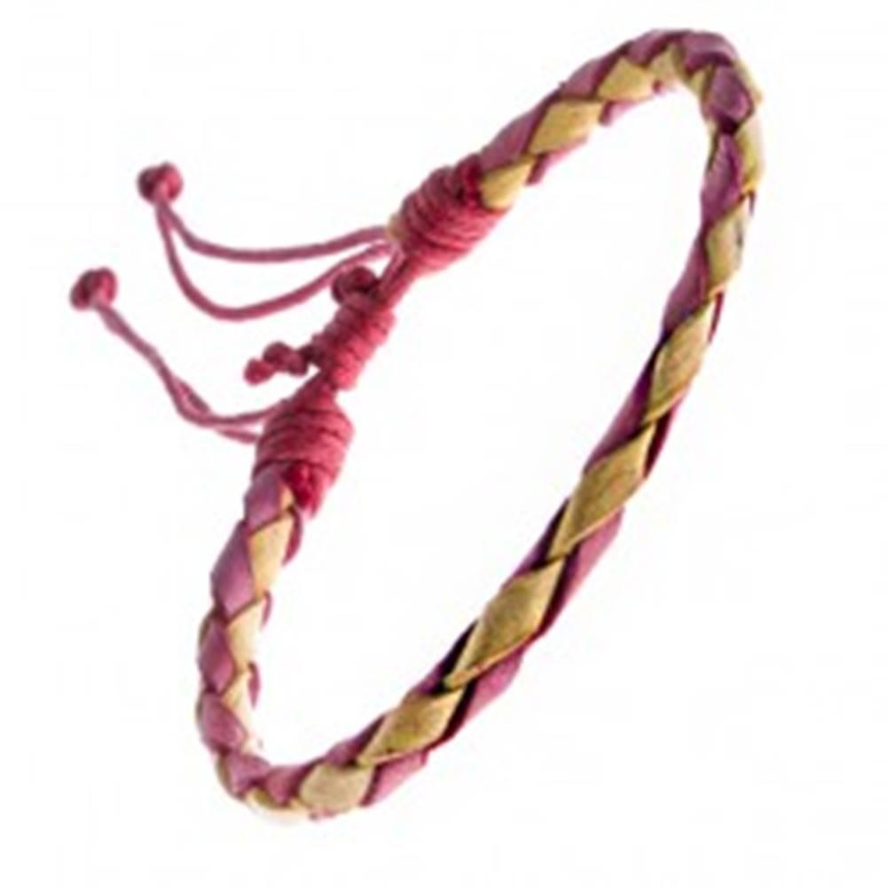 Šperky eshop Pletený náramok z kože - červeno-žltý pletenec, šnúrky