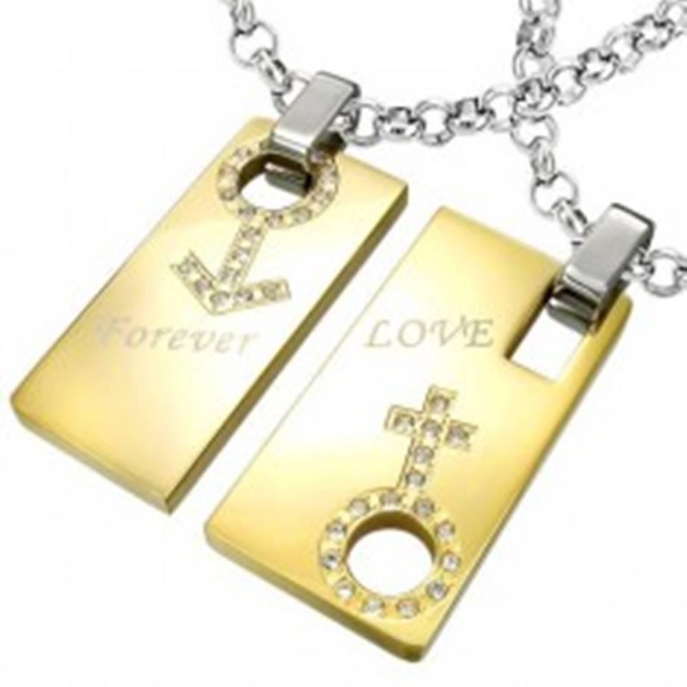 Šperky eshop Prívesok z ocele Forever Love - znak muža a ženy