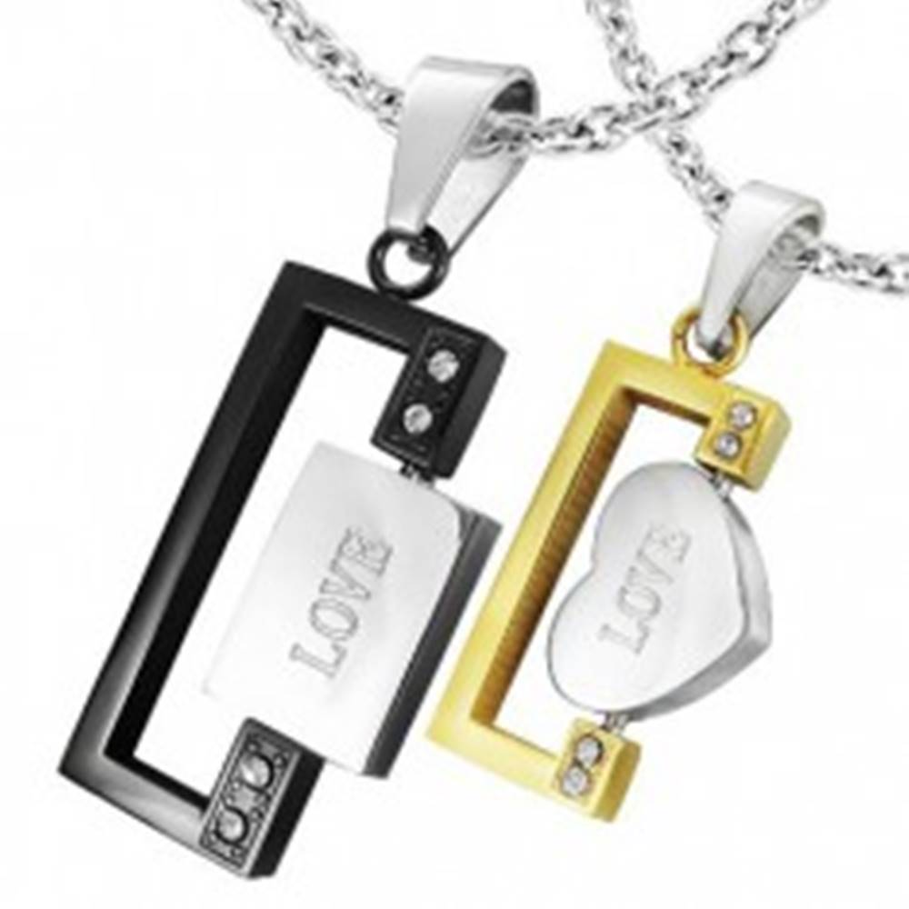 Šperky eshop Prívesok z ocele obdĺžniky s nápisom LOVE