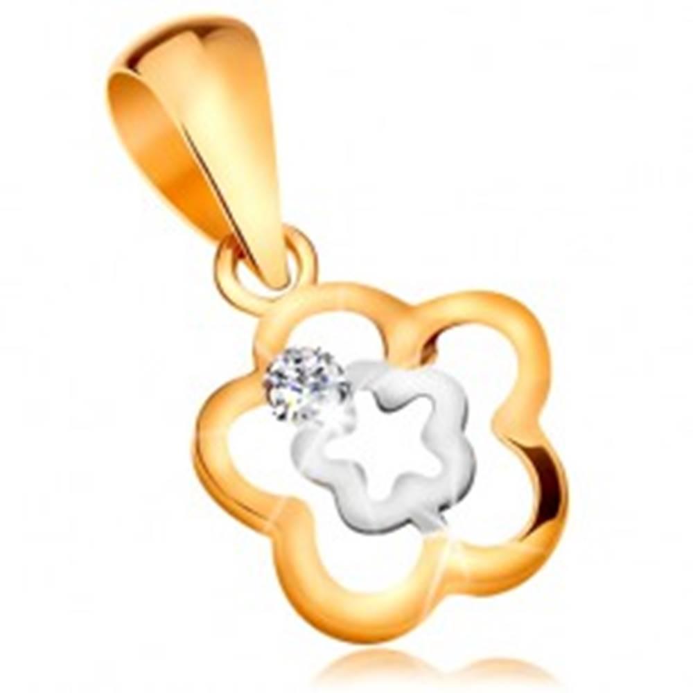 Šperky eshop Prívesok zo 14K zlata - zvlnený dvojfarebný obrys kvetu s čírym zirkónom