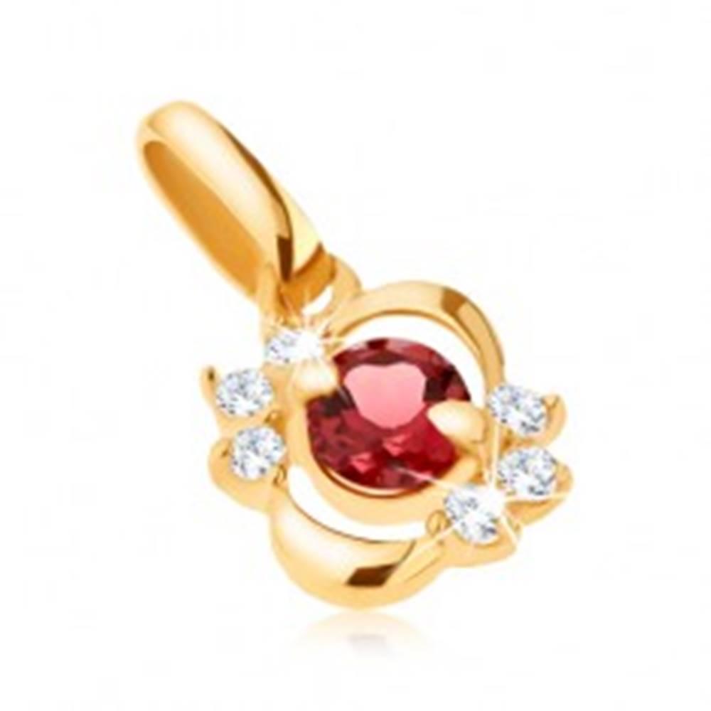 Šperky eshop Prívesok zo žltého 9K zlata, lesklá elipsa s čírymi zirkónmi, červený granát