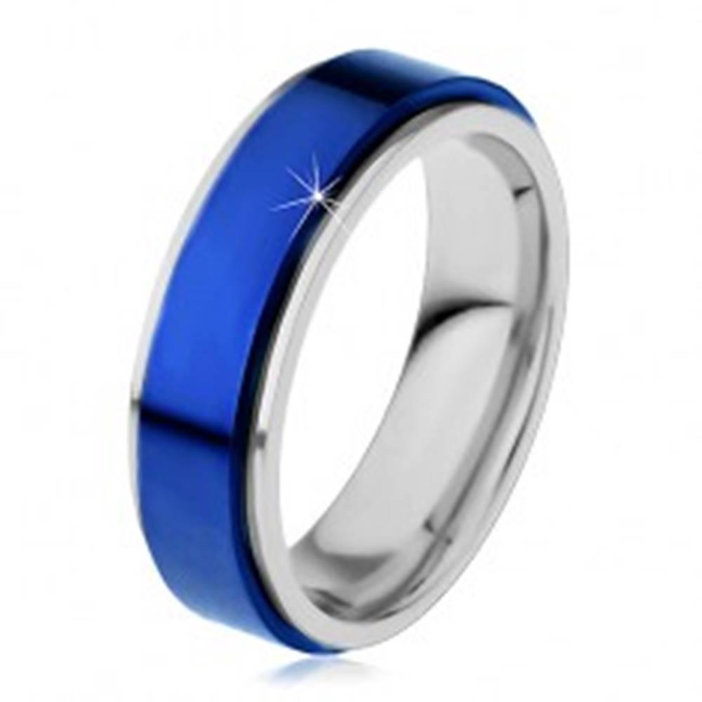Šperky eshop Prsteň z ocele 316L, modrý vyvýšený pás, okraje striebornej farby - Veľkosť: 54 mm