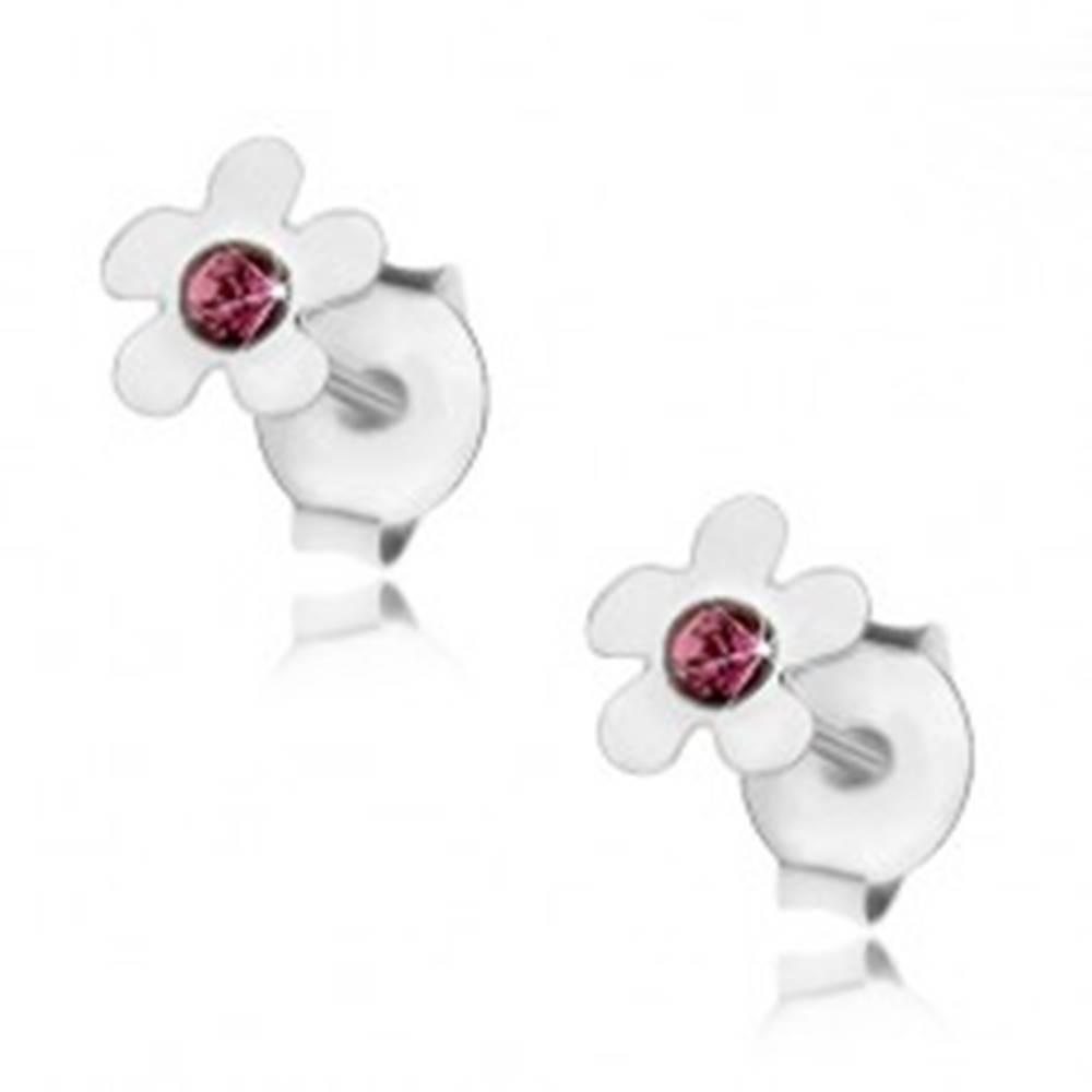 Šperky eshop Puzetové náušnice, striebro 925, kvet s oblými lupeňmi a fialovým krištálikom