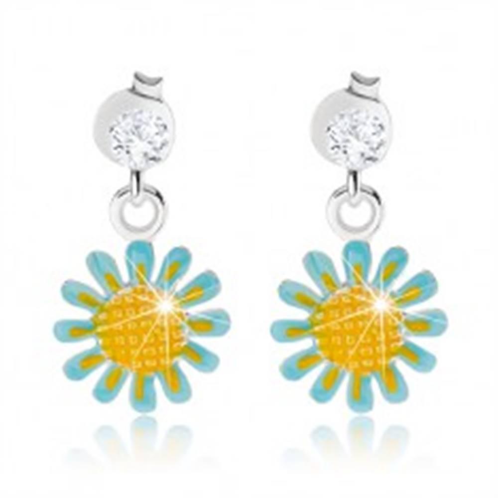 Šperky eshop Puzetové náušnice, striebro 925, kvietok so svetlomodrou a žltou glazúrou