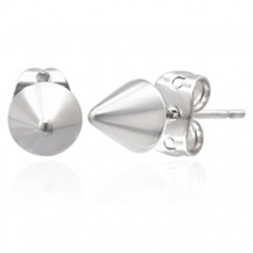 Šperky eshop Puzetové náušnice z ocele 316L - kužele striebornej farby