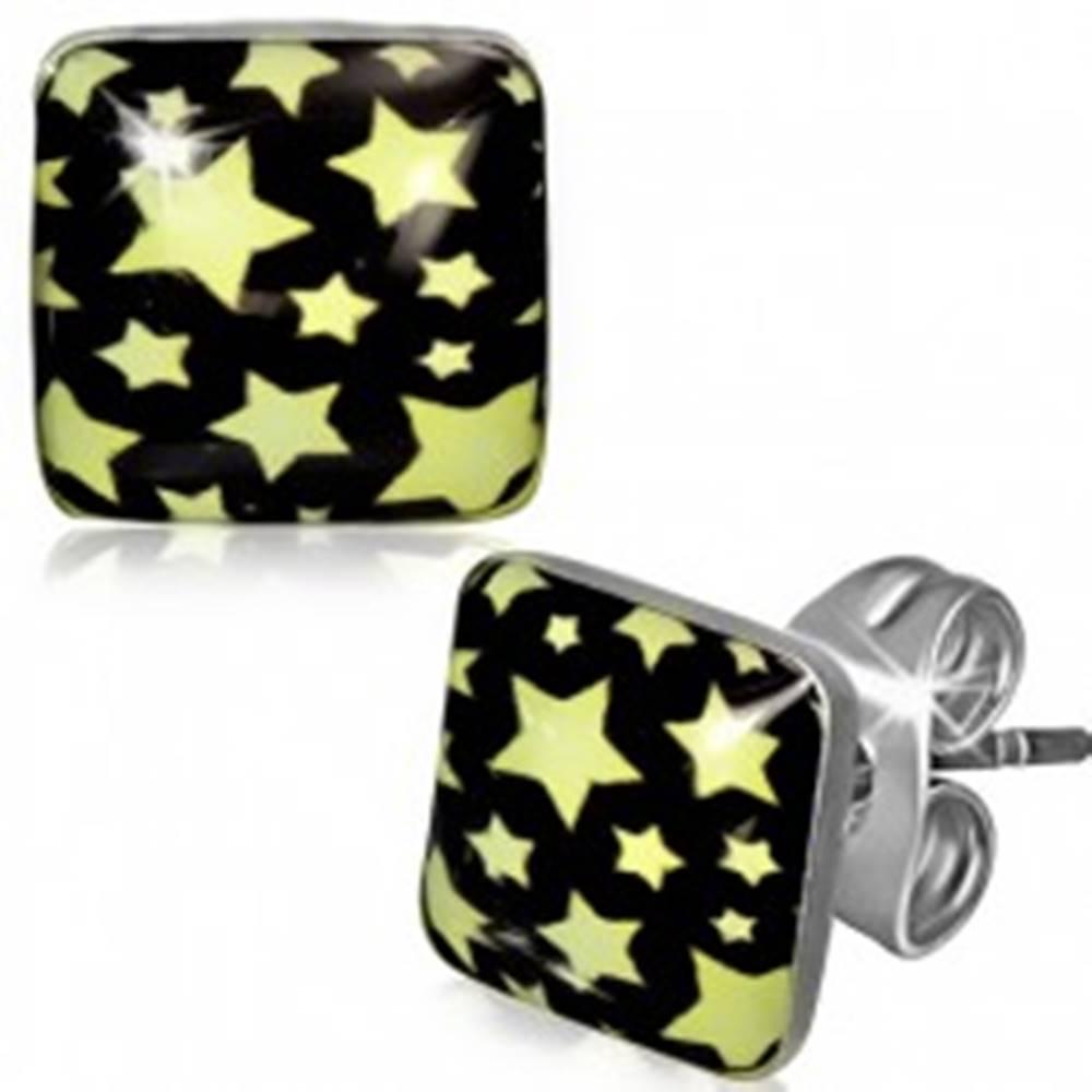 Šperky eshop Puzetové náušnice z ocele - štvorec so žltými hviezdami