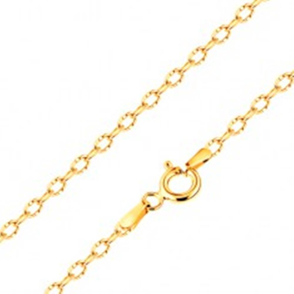 Šperky eshop Retiazka v žltom 14K zlate, lesklé oválne očká so zárezmi, 500 mm