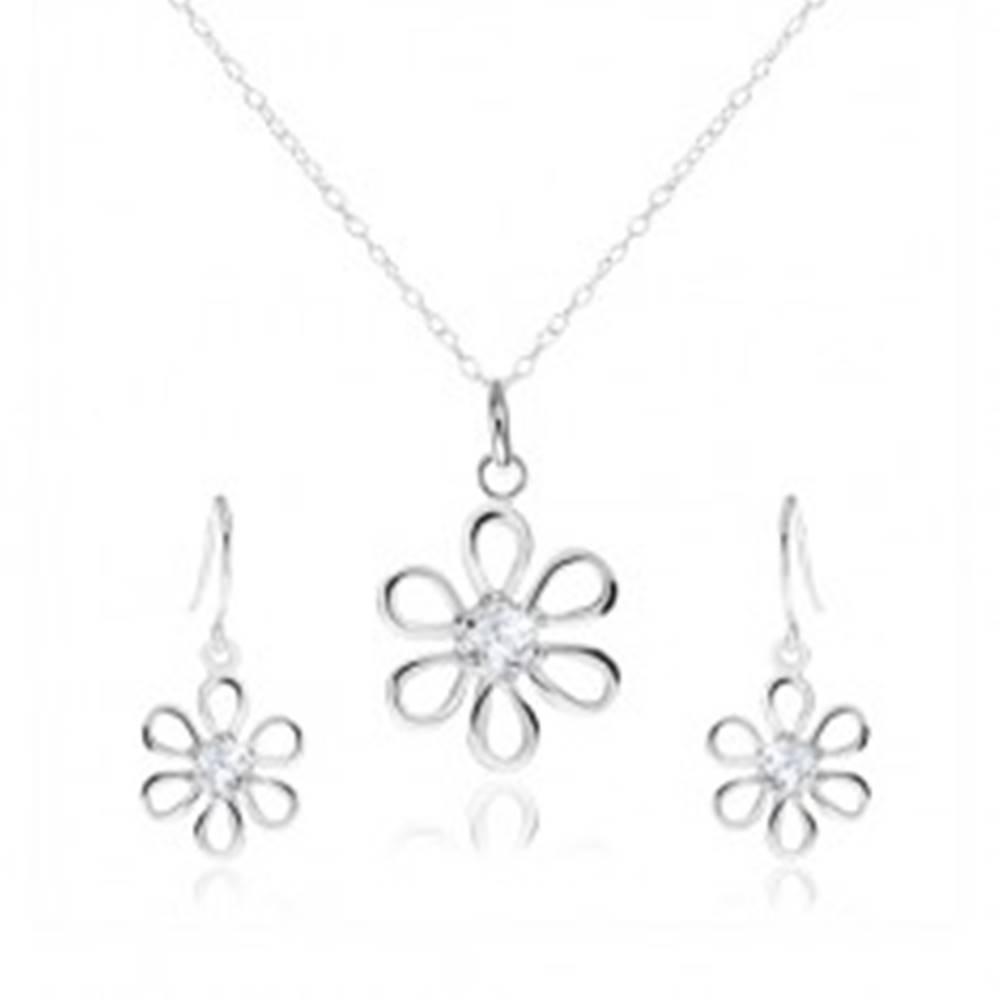 Šperky eshop Strieborná 925 sada - náhrdelník a visiace náušnice, kvet so zirkónom