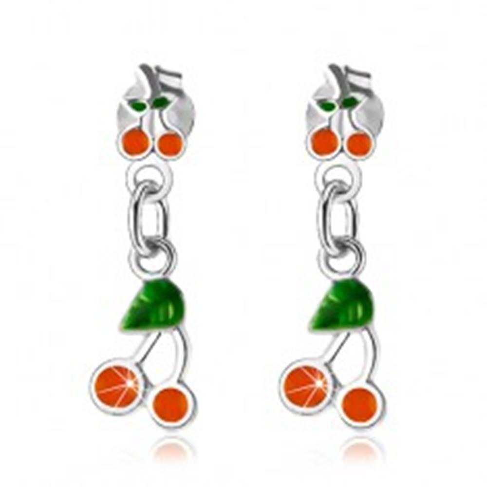 Šperky eshop Strieborné 925 náušnice, čerešničky zdobené oranžovou a zelenou glazúrou