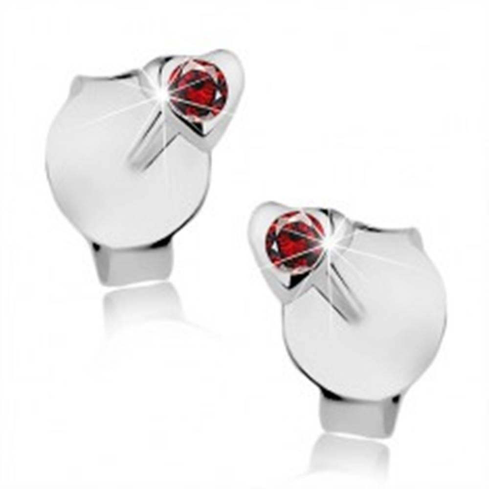 Šperky eshop Strieborné 925 náušnice, drobné srdiečko, okrúhly červený krištáľ Swarovski