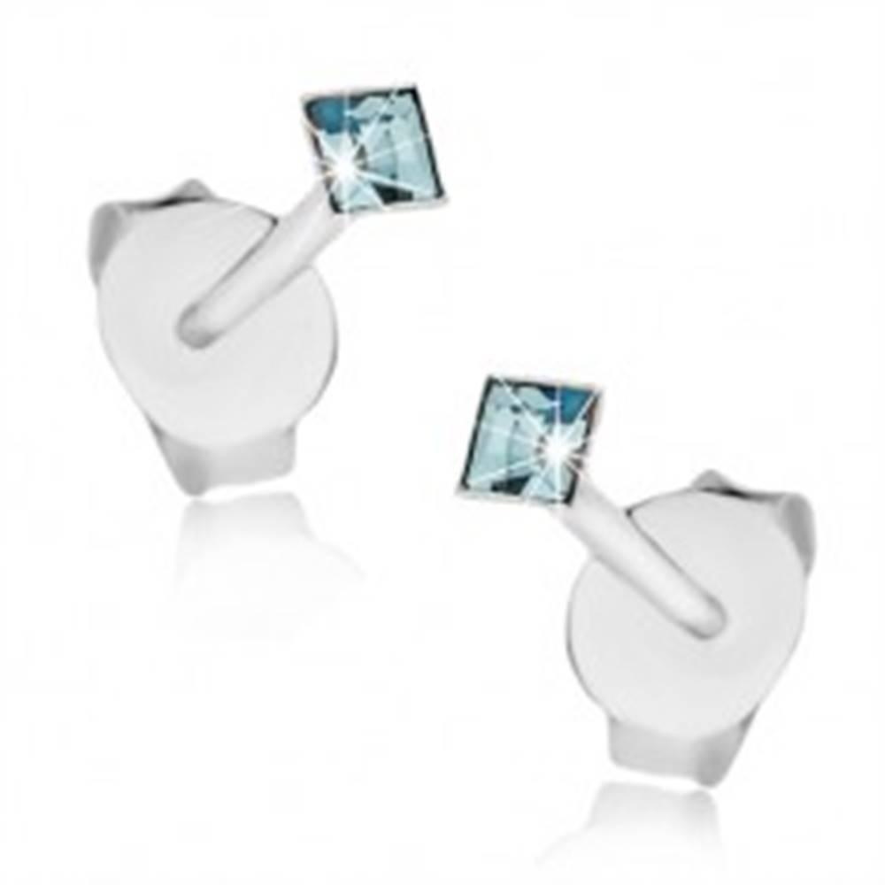 Šperky eshop Strieborné 925 náušnice, modré krištáliky Swarovksi - štvorce, 2 mm