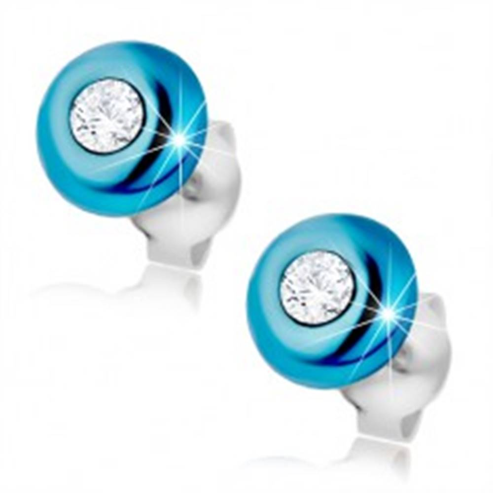 Šperky eshop Strieborné náušnice 925, glazúrovaná pologulička modrej farby, zirkón