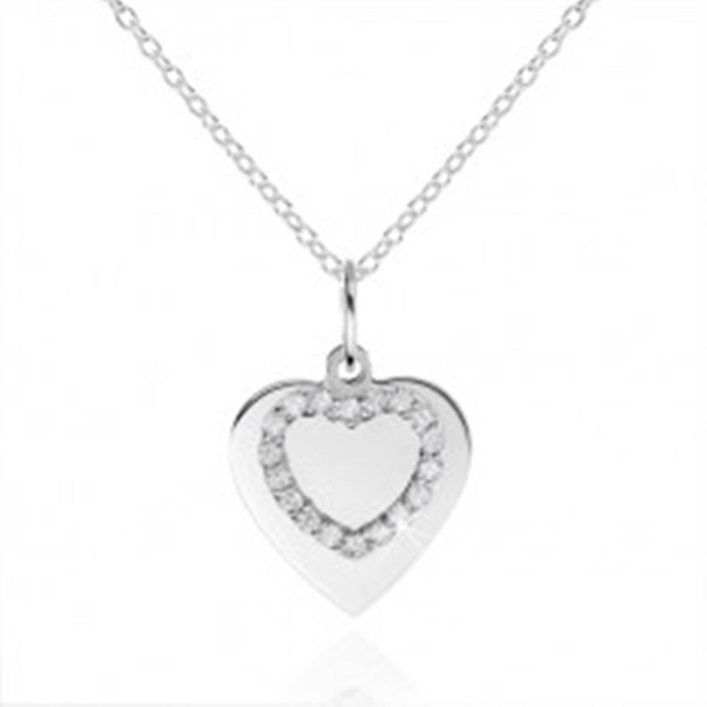 Šperky eshop Strieborný náhrdelník 925, ploché srdiečko a kontúra srdca so zirkónmi
