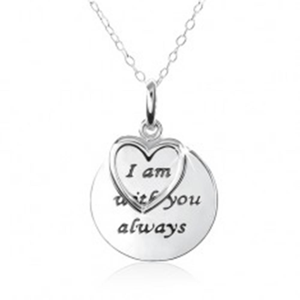 """Šperky eshop Strieborný náhrdelník 925, srdce, známka s nápisom """"I am with you always"""""""