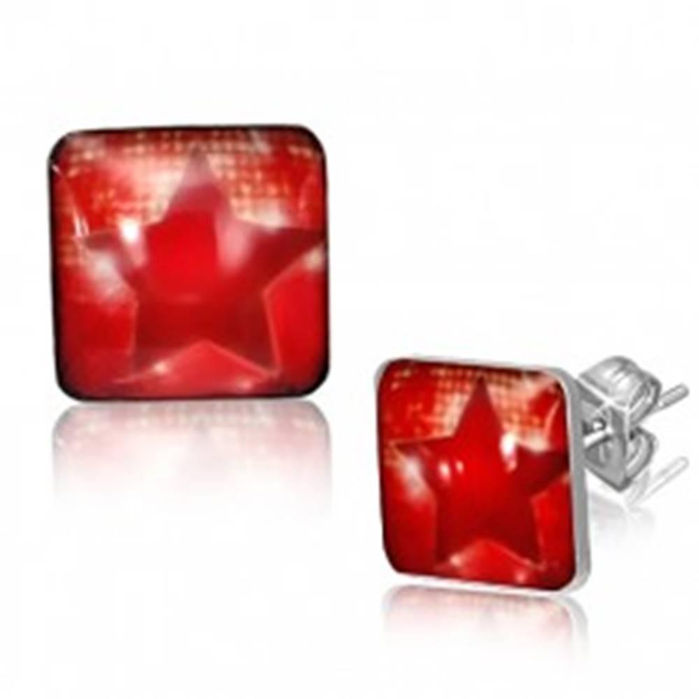 Šperky eshop Štvorcové oceľové náušnice - červená hviezda
