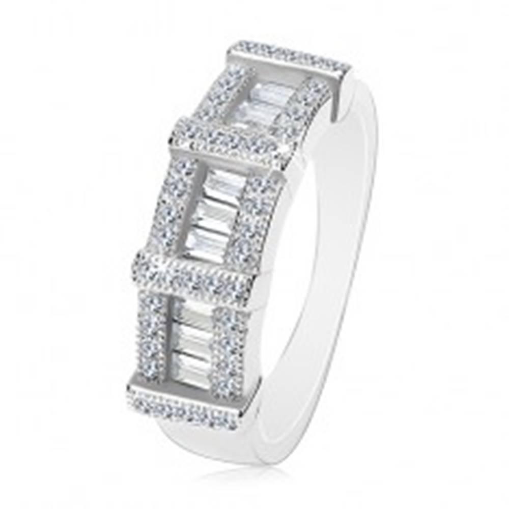 Šperky eshop Zásnubný prsteň zo striebra 925, obdĺžnikové a okrúhle zirkóny - Veľkosť: 47 mm