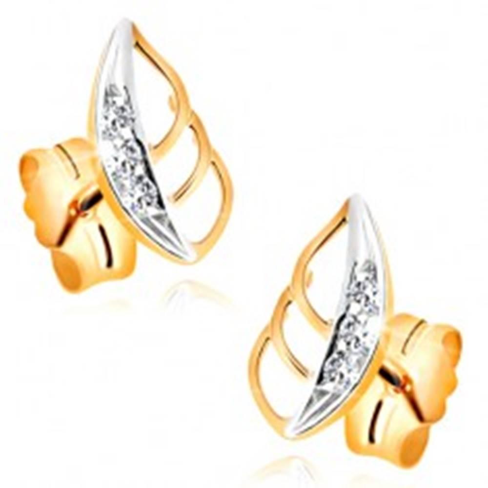 Šperky eshop Zlaté náušnice 585 - dvojfarebný lístok s výrezmi a čírymi zirkónmi