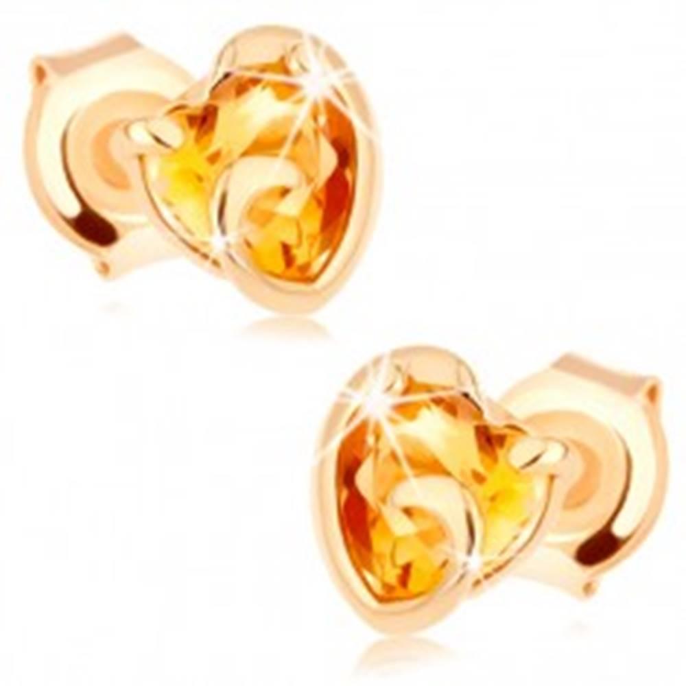 Šperky eshop Zlaté náušnice 585 - srdiečko zo žltého citrínu v neúplnom obryse