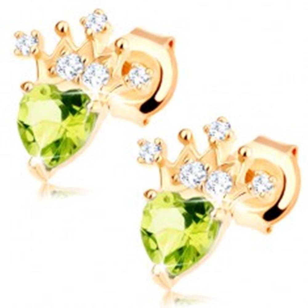 Šperky eshop Zlaté náušnice 585 - srdiečkový zelený olivín, trblietavá korunka