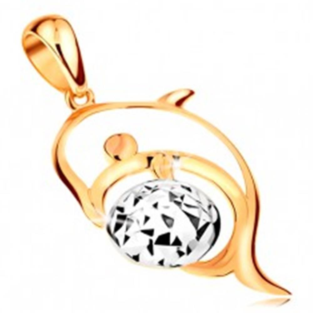 Šperky eshop Zlatý 14K prívesok - kontúra delfína, lopta z bieleho zlata zdobená zárezmi