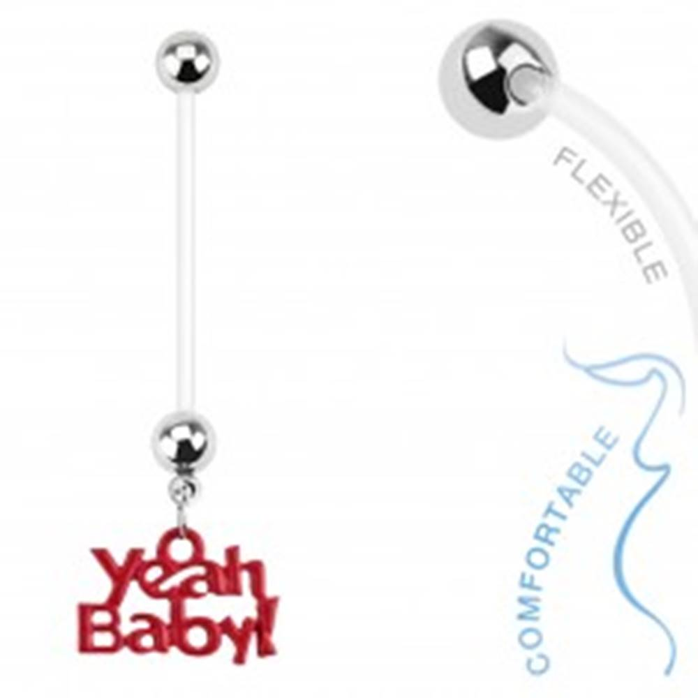 "Šperky eshop Bioflex piercing do pupku pre tehotné ženy, guličky, nápis ""Yeah Baby!"""