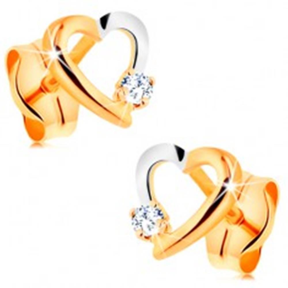 Šperky eshop Briliantové náušnice zo 14K zlata - obrys srdiečka s drobným diamantom