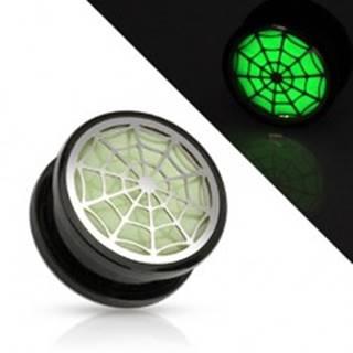 Akrylový tunel plug do ucha, čierna farba, pavučina žiariaca v tme - Hrúbka: 10 mm
