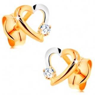 Briliantové náušnice zo 14K zlata - obrys srdiečka s drobným diamantom